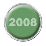 Button To Start the New Year. A green button starting the year 2008 royalty free illustration