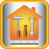 Button with tools. Screwdriver, spanner and hammer in house Stock Images