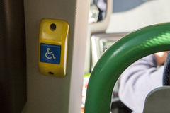 Button on tourists bus for handicapped people Stock Photography