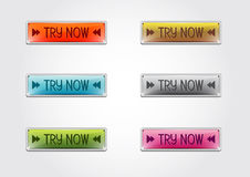 Button try now. Buttons or icons with try now, illustration Stock Photography