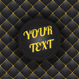 Button-tufted black leather background with minimal round text box design Royalty Free Stock Photo