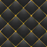 Button-tufted black leather texture Royalty Free Stock Image