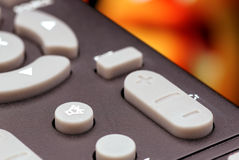 Button on the TV remote control. Royalty Free Stock Photo