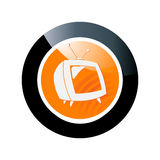 Button with tv symbol Royalty Free Stock Images