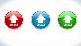 Button upload. Three buttons upload. Red, Blue, Green Royalty Free Stock Photo