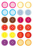 Button variation set. Isolated buttons with two and four holes each stock illustration