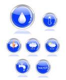 button vatten för symbolen för droppekologi glansigt Fotografering för Bildbyråer