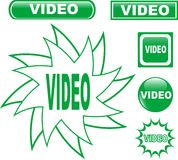 Button VIDEO glossy web icons set Stock Images