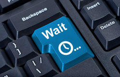 Button wait computer keyboard. Royalty Free Stock Photo