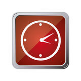 Button with wall clock with background red Stock Photography