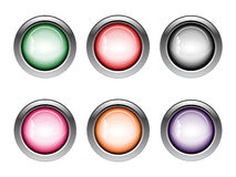 Button Web Icons in various colors Royalty Free Stock Image