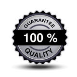 Button for website or app. Button - 100 guarantee quality, circular chrome label. Illustration royalty free illustration