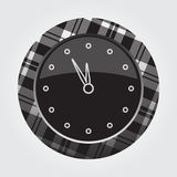 Button white, black tartan, last minute clock icon. Black button with gray, black and white tartan pattern on the border - light gray last minute clock icon in royalty free illustration