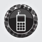 Button white, black tartan - old mobile phone icon Royalty Free Stock Image