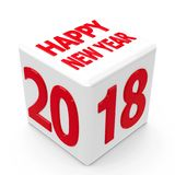 Button 2018. White cube with 2018 on a white table represents the new year 2018, three-dimensional rendering, 3D illustration Royalty Free Stock Photos
