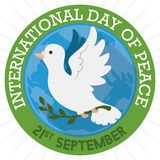 Button with White Dove and Globe for International Peace Day, Vector Illustration Stock Photography