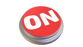 Button with the word `ON` in action. Round red button with the word `ON` after pressing becomes green. Footage video stock illustration