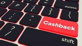 Button with word Cashback. laptop Keyboard. 3d rendering royalty free illustration