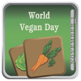 Button World Vegan Day. With vegetables. Vector illustration Royalty Free Stock Image