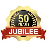 Button 50 years jubilee. Gold button with red banner for 50 years jubilee stock illustration