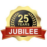 Button 25 years jubilee. Gold button with red banner for 25 years jubilee Royalty Free Stock Photography