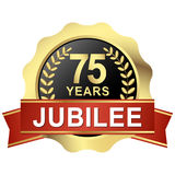 Button 75 years jubilee. Gold button with red banner for 75 years jubilee royalty free illustration