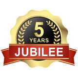 Button 5 years jubilee. Gold button with red banner for 5 years jubilee vector illustration