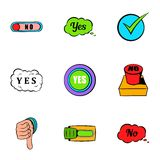 Button yes icons set, cartoon style Royalty Free Stock Photo
