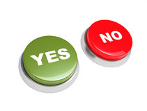 Button yes and no. Stock Photo