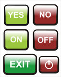 Button yes no on off Stock Photography