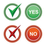 Button Yes and No. Stock Photos