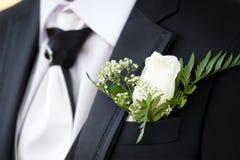 Buttonhole of bridegroom Stock Photos