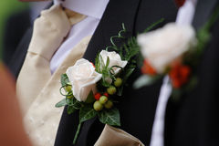 Buttonhole flowers. Flowers in the buttonhole of the best man at a wedding royalty free stock photos