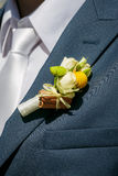 Buttonhole of the groom from beige roses and cinnamon Stock Image