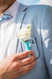 Buttonhole on the groom's suit from a rose Stock Photo