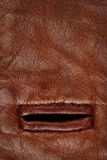 Buttonhole in leather Stock Images