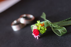 Buttonhole and rings Royalty Free Stock Photos
