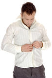 Buttoning-up White Shirt Royalty Free Stock Photos