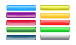 Buttons 1. Ten glossy coloured web buttons Royalty Free Stock Images