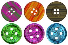 Buttons. Image of collection of multi-coloured fasteners with four hole for clothes Stock Images
