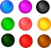 Buttons. Color button, glass icon, glass button, original design Stock Images