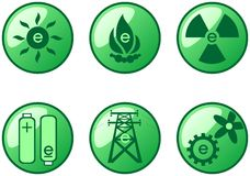 Buttons. Green glass buttons with different kind of energy vector illustration