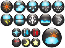 Buttons. Glass buttons with different kind of meteorologic symbols stock illustration