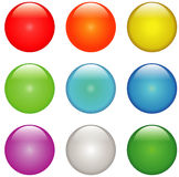 Buttons. Empty glass buttons with different colors vector illustration