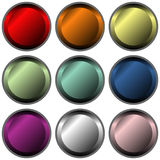 Buttons. Empty metallic button with diferent colors royalty free illustration