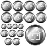 Buttons. Metallic buttons with different kind of web symbols stock illustration