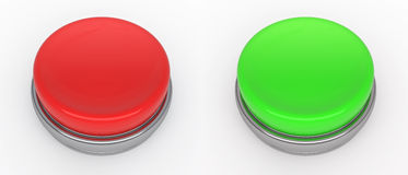 Buttons. Empty red and green buttons (3d render Royalty Free Illustration