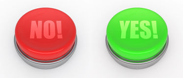 Buttons. Red and green buttons (3d render Royalty Free Illustration
