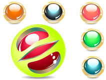 Buttons. Several brilliant varicoloured buttons and magic ball Royalty Free Stock Photo