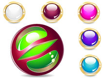 Buttons. Several brilliant varicoloured buttons and magic ball Stock Images